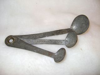 Antique Measuring Spoon Set (3) Dated July 1900 Measure Drops Too Pharmacy? photo