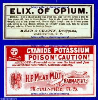 7 Antique Elixir Of Opium Poison Medicine Bottle Labels photo