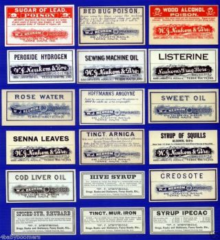 18 Antique Neukom Drug Store Vintage Medicine Bottle Labels Terre Haute Indiana photo