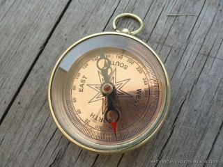 Good Quality Replica Brass Pocket Compass Ross London Military photo