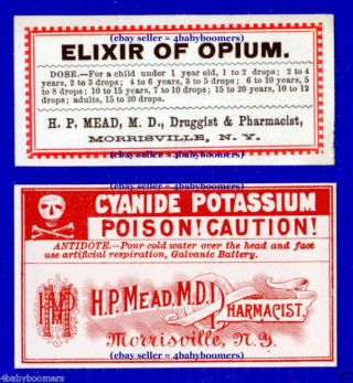 5 1880s ~elixir Of Opium~ & Antique Medicine Bottle Labels Morrisville New York photo