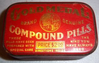 Gold Medal Compound Pills Female Menstrual Medicine Drug Tin Virginia Chem Co photo