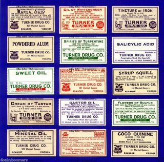 15 Turner Drug Store Pharmacy Apothecary Medicine Bottle Labels Roanoke Virginia photo