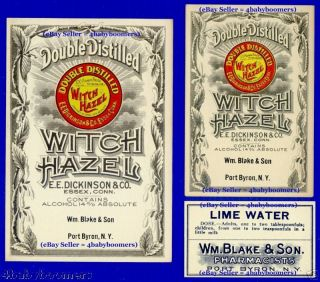 Old Port Byron Ny Witch Hazel+ Pharmacy Medicine Labels photo