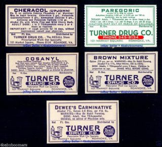 5 Opium & Narcotics Roanoke Virginia Antique Drug Store Medicine Bottle Labels photo