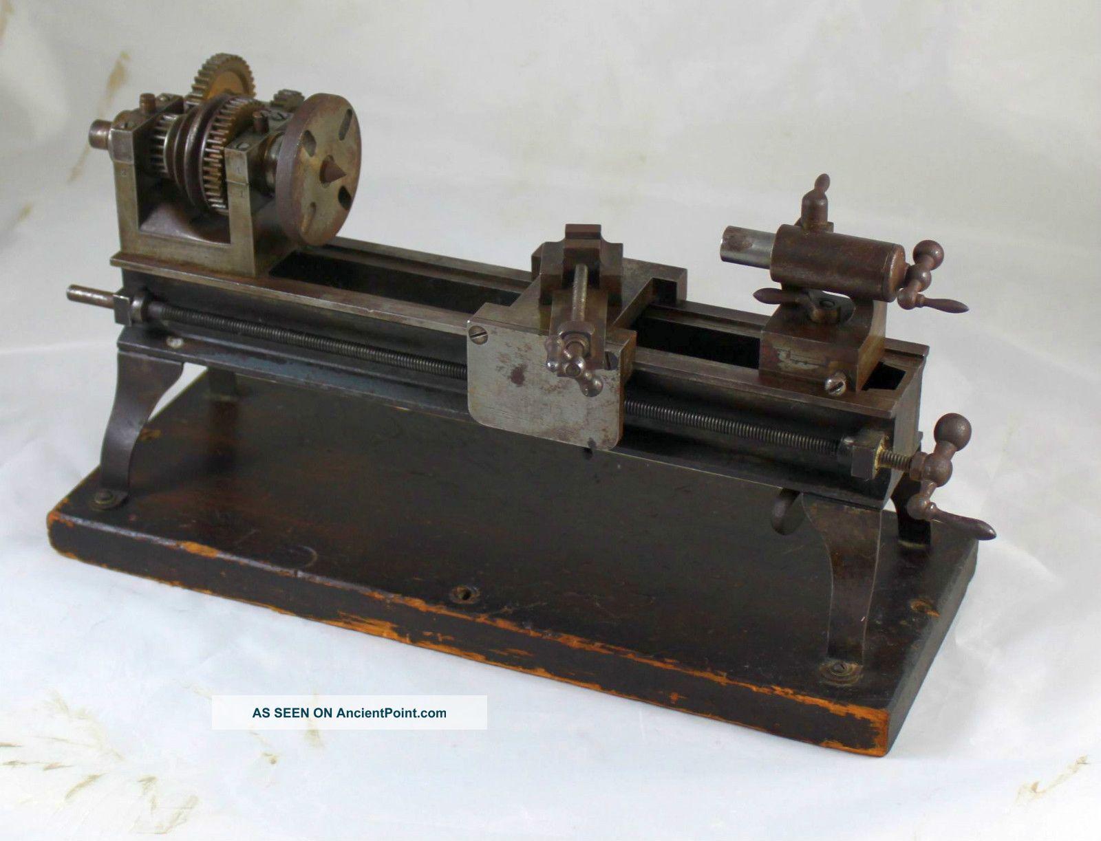 Antique Vintage Miniature Model Maker ' S Screw Cutting Lathe Engineering photo