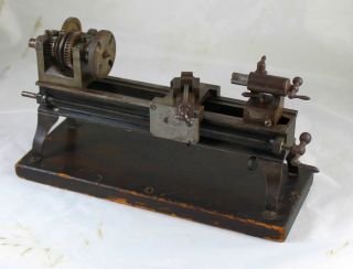 Antique Vintage Miniature Model Maker ' S Screw Cutting Lathe photo