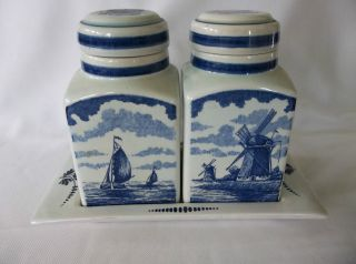 Vintage Delft Apothecary Jars Set Of 2 With Tray Signed photo