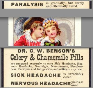 Dr.  C.  W.  Benson ' S Celery & Chamomile Pill Nervous Headache Card Cure Paralysis photo