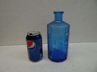 Vintage Blue A.  Lancasters Jaundice Bitters Bottle Col Sam Johnson Richmond 1852 photo