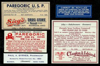 Opium Poison Narcotic Codeine Morphine Paregoric Pharmacy Medicine Bottle Labels photo