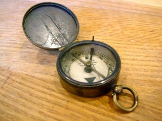 A Lucking & Co Antique Brass Cased Compass C1900 Dry Card photo