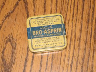 Antique Beach Bro - Asprin Beach Chemical Co Tin St.  Louis Usa Medicine Box photo