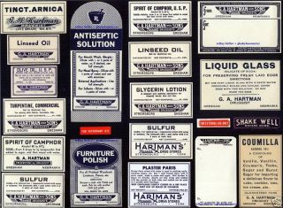 20 Antique Nebraska Vintage Hartman ' S Drug Store Pharmacy Medicine Bottle Labels photo