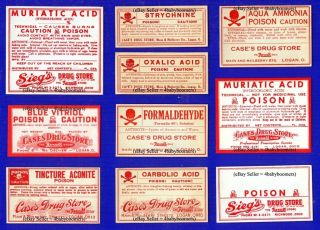 10 ~all Poison~ Ohio Pharmacy Drug Store Medicine Label photo