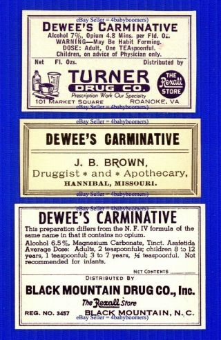 3 Dewee ' S Opium Antique Narcotic Medicine Bottle Labels photo