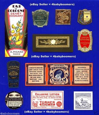 11 Vintage Perfume Beauty & Medicine Antique Apothecary Cosmetics Bottle Labels photo