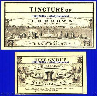 16 1860s Brown Hannibal=antique Medicine Bottles Labels photo