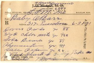1931 Dover Opium Powder Prescription For A Baby & Pharmacy Narcotic Bottle Label photo