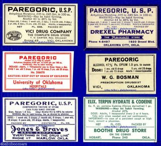 6 Opium Morphine Drug Narcotic Paregoric Antique Oklahoma Medicine Bottle Labels photo