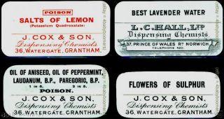 4 Antique Opium Laudanum Poison Cox & Son Chemists England Medicine Bottle Label photo