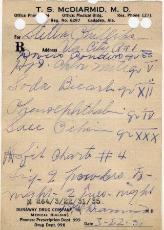 1931 Opium Prescription & Pharmacy Drugstore Apothecary Dasins Preperation Label photo