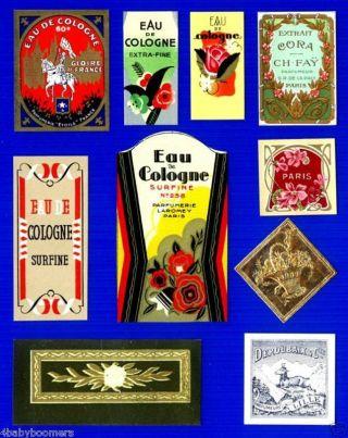 10 Antique Paris France French Perfume Bottle Labels~a2 photo