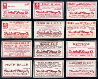 12 Antique Driskell Drug Store Poison+ Medicine Bottle Label Carrollton Kentucky photo