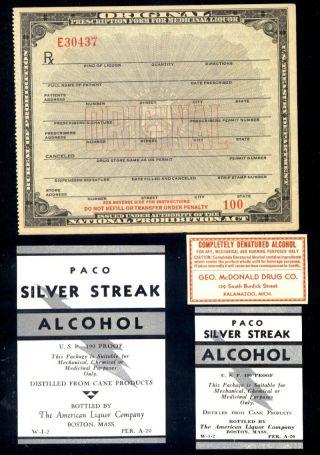 Antique Mint Prohibition Prescription & Drug Store Medicinal Alcohol & Rx Labels photo