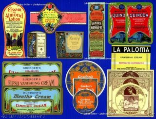 24 Antique Fancy Medicine Beauty Cosmetic Bottles Label photo