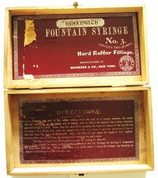 Greenwich Fountain Syringe No.  3,  Meinecke & Co. ,  New York Wood Box With Labels photo