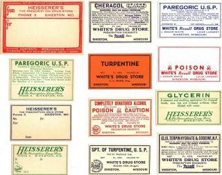 12 Heisserer ' S White ' S Pharmacy Sikeston Missouri Medicine Poison Narcotic Label photo