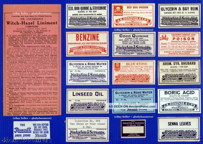 17 Antique Tennessee & Wisconsin Rx Drug Store Pharmacy Medicine Bottle Labels Other photo
