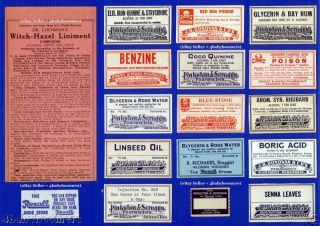 17 Antique Tennessee & Wisconsin Rx Drug Store Pharmacy Medicine Bottle Labels photo