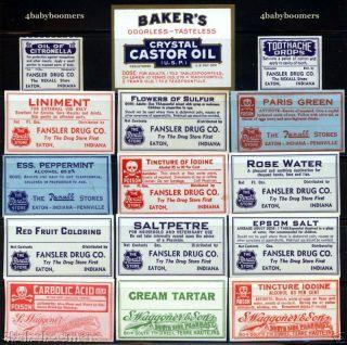 30 Antique Indiana Drug Store Rx Medicine Bottle Labels photo