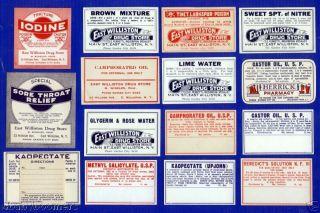 Antique Williston Ny Pharmacy Rx Medicine Bottle Labels photo