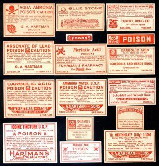 16 ~all Poison~ Drug Store Rx Medicine Bottle Labels~p3 photo