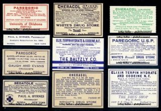 10 Opium Narcotic Pharmacy Drugstore History Antique Medicine Bottle Labels ~l7 photo