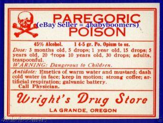 Opium Poison ~ 3 Oregon Pharmacy Medicine Bottle Labels photo