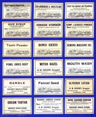 18 Antique ~ Sievert Drug Store Davenport Iowa ~ Pharmacy Medicine Bottle Labels photo