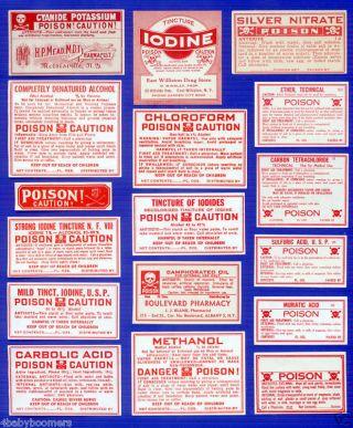 17~all Poison~antique Drug Store Medicine Bottle Labels photo