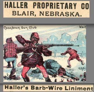 1880 ' S Black Ethnic Gun Club Barb Wire Medicine Cure Hunting Trade Card Blair Ne photo