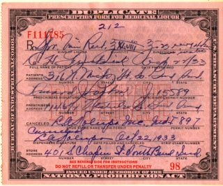 1933 Prohibition Prescription South Bend In~every 4 Hrs photo