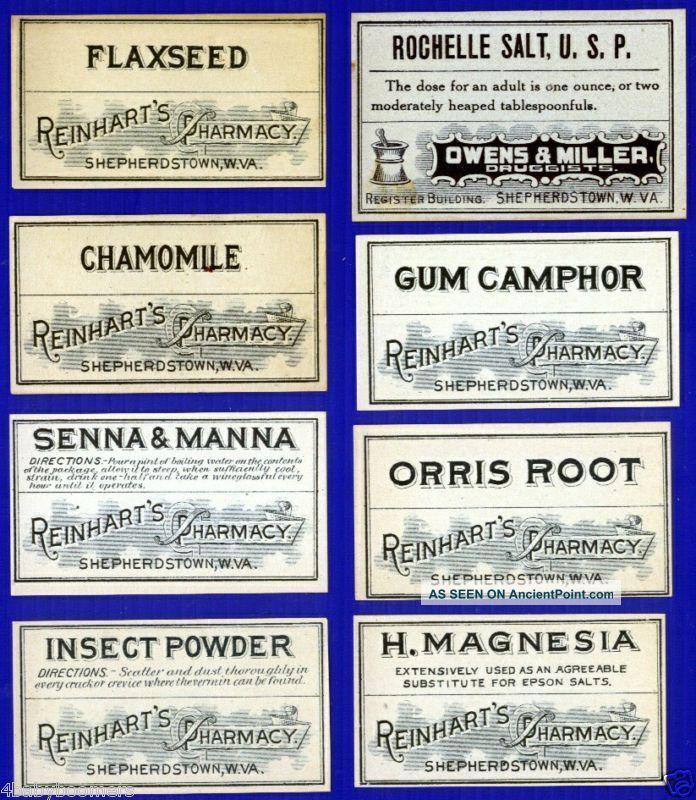 28 West Virginia Pharmacy Reinhart Drug Store Antique Medicine Bottle Labels