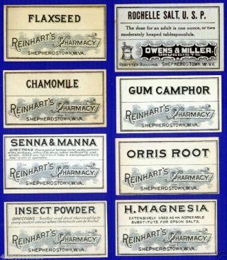 28 West Virginia Pharmacy Reinhart Drug Store Antique Medicine Bottle Labels photo