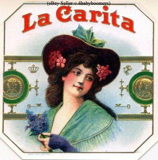 Antique ~ La Carita ~ Lady Embossed Box Label photo