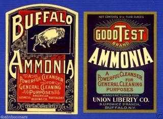 2 Antique Buffalo Ammonia Bottle Labels (est 1872) ~ Ny photo