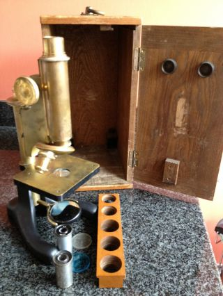 Brass Microscope With Accessories By R & J Becks Circa Early 1920 ' S photo