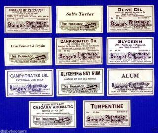 11 Old Walter Bonge Pharmacy Labels ~montpelier Indiana photo
