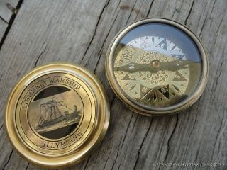 Quality Replica Liburnia Warship Illyrians Large Brass Pocket Compass photo